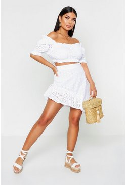 Womens White Petite Broderie Anglaise Asymmetric Ruched Skirt