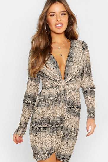 Womens Stone Petite Snake Print Pleated Twist Front Midi Dress