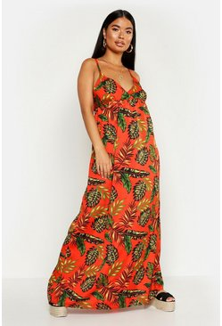 Womens Red Petite Cross Back Woven Tropical Print Maxi Dress