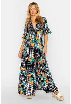 Womens Black Petite Citrus Polka Dot Print Button Up Maxi Dress