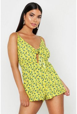 Chartreuse Petite Floral Tie Front Strappy Romper