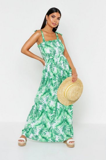 Womens Green Petite Tie Strap Shirred Tropical Print Maxi Dress