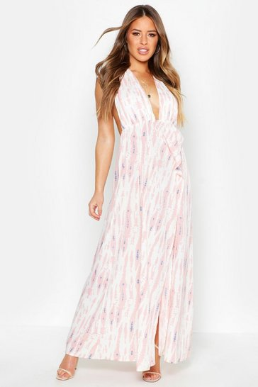 Womens Blush Petite Tie Dye Plunge Split Leg Maxi Dress