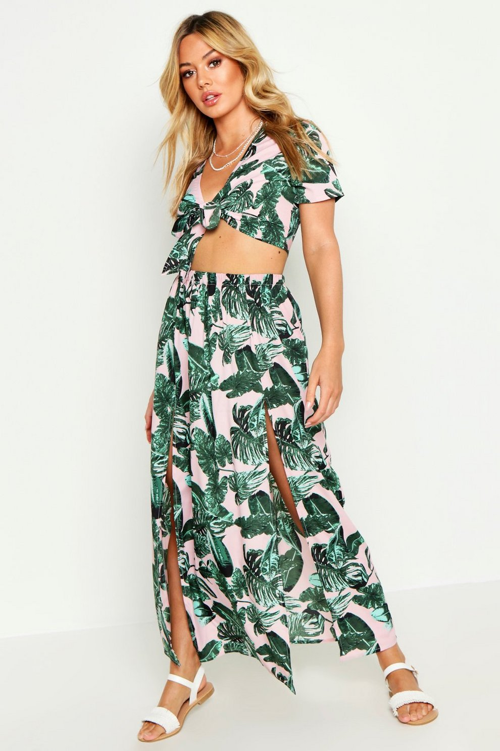 c44c1714aa79 Womens Pink Petite Palm Print Tie Front Top & Maxi Skirt Co-Ord. Hover to  zoom