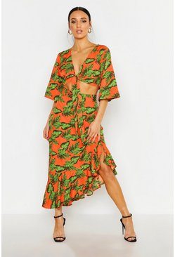 Womens Orange Petite Tropical Print Tie Front Top Skirt Co-Ord