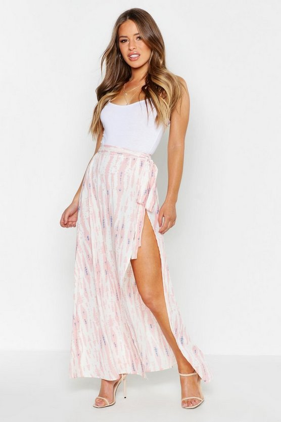 Womens Blush Petite Tie Dye Wrap Maxi Skirt
