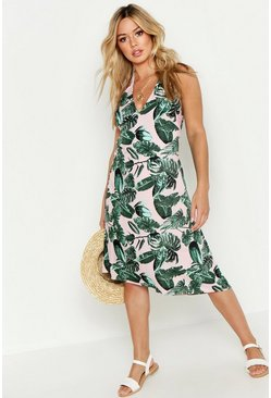 Womens Pink Petite Palm Print Halterneck Beach Midi Dress