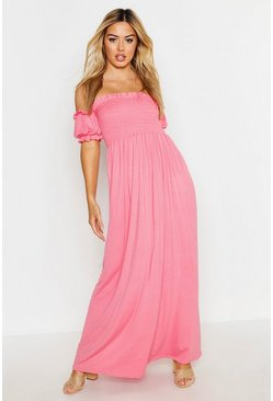 Womens Coral Petite Sheered Balloon Sleeve Maxi Dress