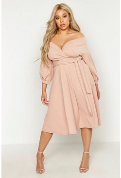 Blush Plus Off Shoulder Wrap Midi Dress