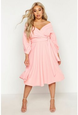 Plus – Off-Shoulder Midikleid mit Wickeldesign, Coral rouge