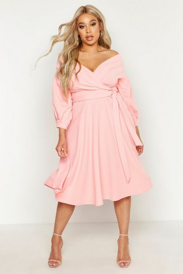 Womens Coral blush Plus Off Shoulder Wrap Midi Dress