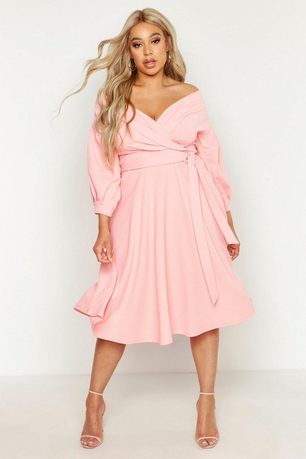 8db32eb8c1 Plus Off Shoulder Full Skirted Wrap Midi Dress | Boohoo