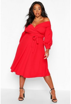 Red Plus Off Shoulder Wrap Midi Dress