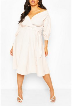 Womens Stone Plus Off Shoulder Wrap Midi Dress