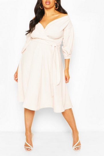 Womens Stone Plus Off Shoulder Full Skirted Wrap Midi Dress