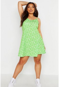 Womens Green Plus Ditsy Floral Basic Swing Dress