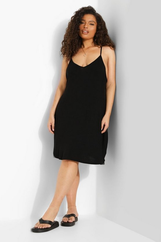Womens Black Plus Basic Swing Dress