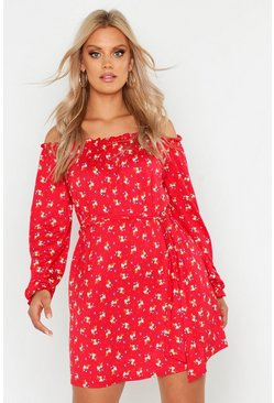 Red Plus Off The Shoulder Floral Tie Waist Dress