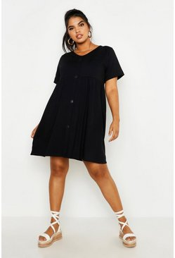 Womens Black Plus Button Front Smock Dress