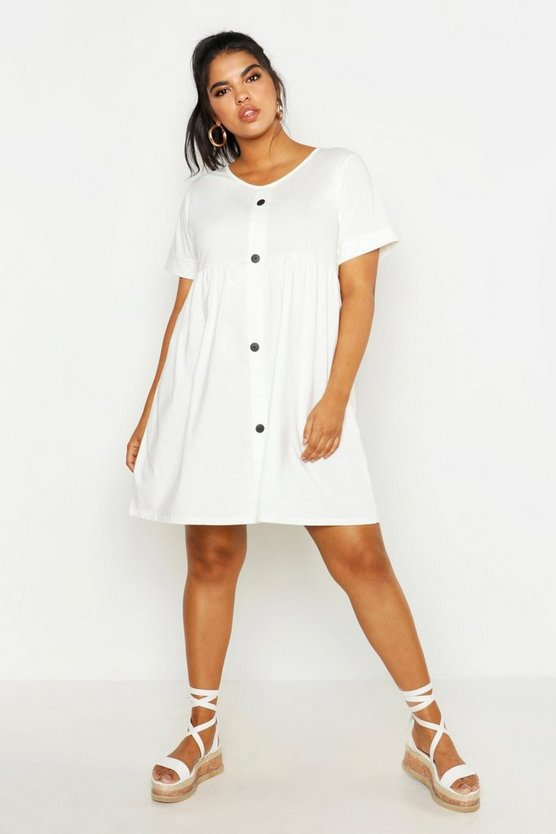 Womens Ivory Plus Button Front Smock Dress