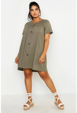 Womens Khaki Plus Button Front Smock Dress