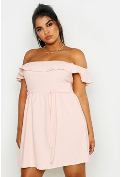 Womens Blush Plus Off The Shoulder Ruffle Midi Dress