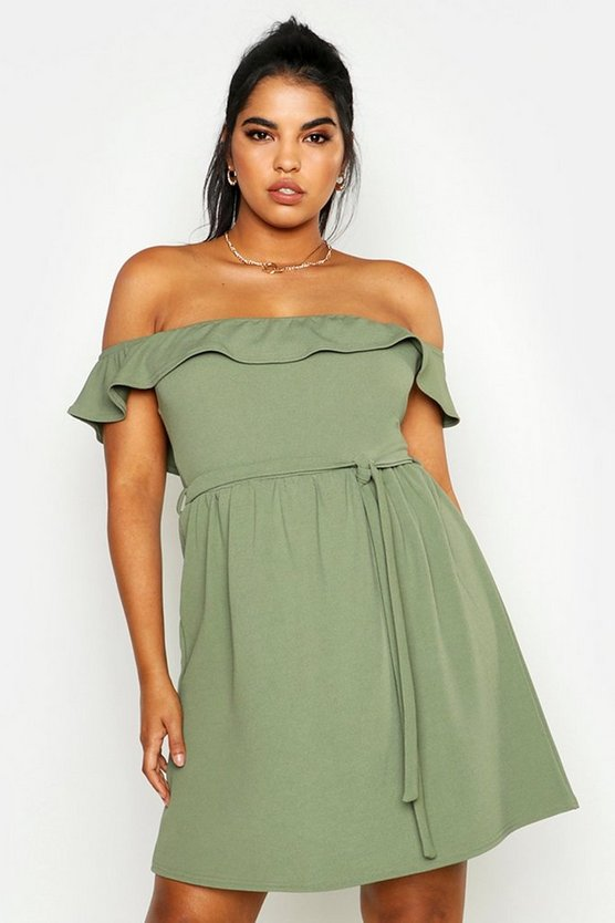 Womens Khaki Plus Off The Shoulder Ruffle Midi Dress