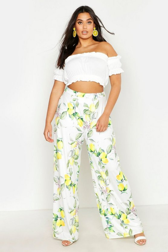 Womens Ivory Plus Lemon Print Slinky Wide Leg Trousers