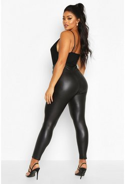 Black Plus Leather Look High Waist Skinny Leggings