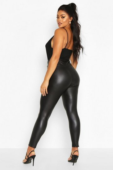 Womens Black Plus Leather Look High Waist Skinny Leggings