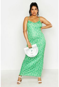 Womens Green Plus Ditsy Floral Basic Strappy Maxi Dress
