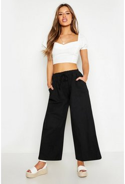 Black Petite Linen Wide Leg Trousers