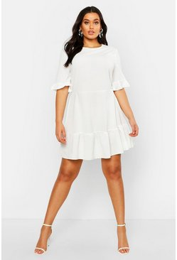 Ivory Plus Ruffle Hem Woven Shift Dress
