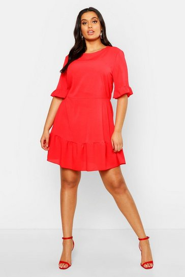 Red Plus Ruffle Hem Woven Shift Dress