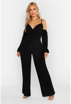 Womens Black Plus Off Shoulder Wide Leg Jumpsuit