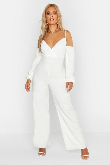 Womens White Plus Off Shoulder Wide Leg Jumpsuit