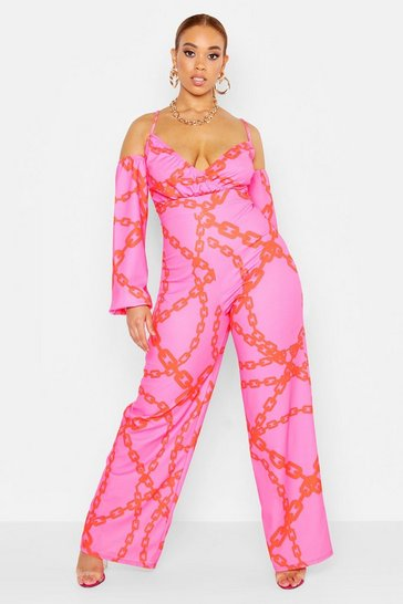 Womens Pink Plus Chain Print Off Shoulder Wide Leg Jumpsuit