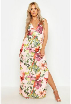 Womens Pink Plus Jungle Plunge Front Maxi Dress