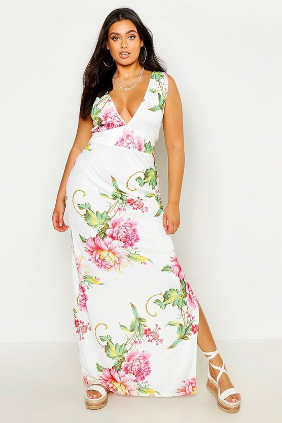 Womens White Plus Floral Plunge Maxi Dress