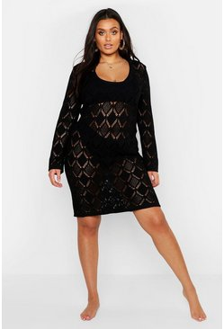 Womens Black Plus Crochet Beach Dress