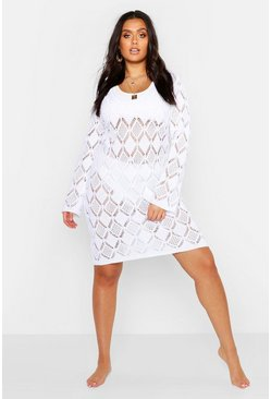 Womens White Plus Crochet Beach Dress