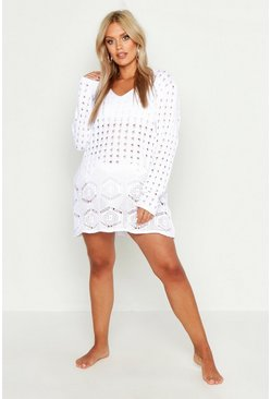 Womens White Plus Crochet Lace Detail Beach Dress