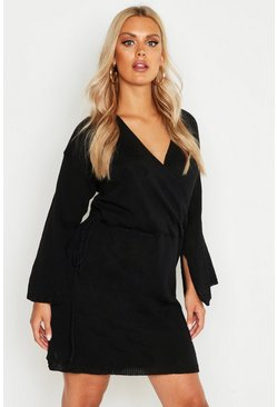 Womens Black Plus Off Shoulder Wrap Knitted Dress
