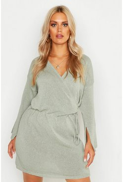 Womens Sage Plus Off Shoulder Wrap Knitted Dress
