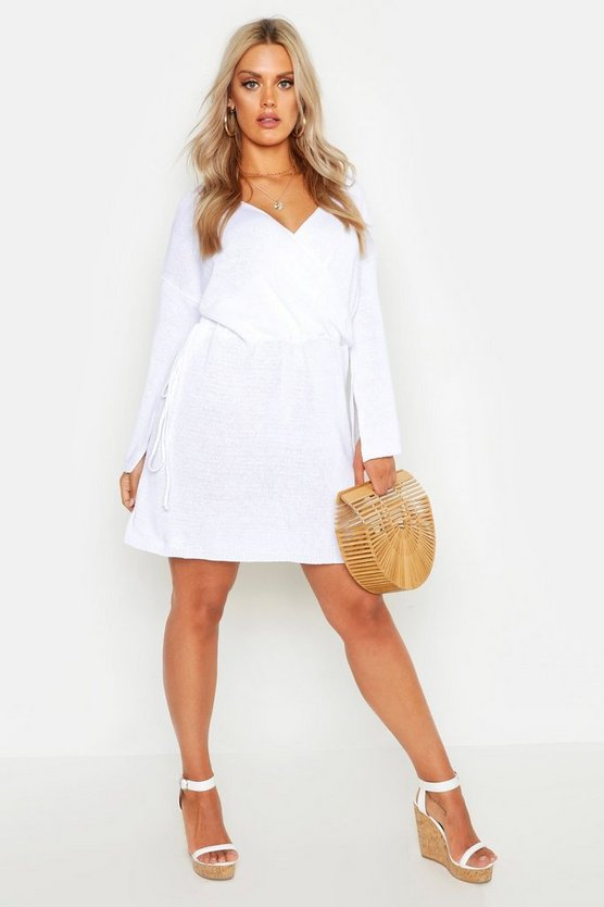 Plus Off Shoulder Wrap Knitted Dress by Boohoo