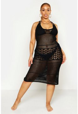 Womens Black Plus Crochet Beach Knit Midi Dress