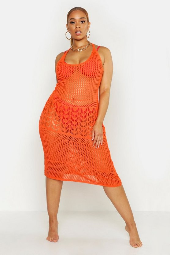 Plus gehäkeltes Midi-Strandkleid, Orange, Damen