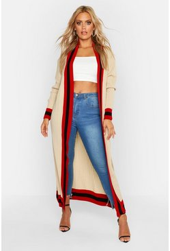 Womens Camel Plus Stripe Maxi Length Cardigan