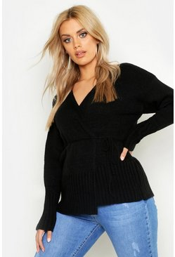 Womens Black Plus Knitted Wrap Cardigan
