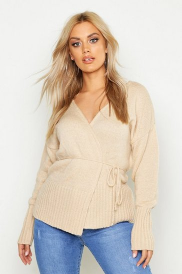 Womens Stone Plus Knitted Wrap Cardigan